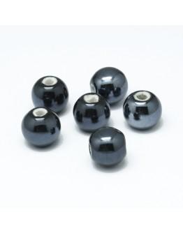 Keramikos karoliukai, apvalūs, tamsiai mėlynos spalvos, matmenys: 14mm, skylė: 2mm
