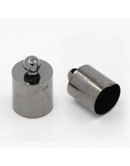 Tamsinto metalo spalvos, žalvariniai antgaliai, matmenys: 14x10mm, vidinis diametras: 9mm, skylė: 1mm; 4 vnt./pak.