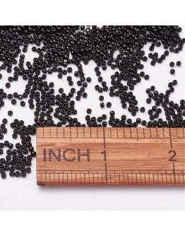 TOHO® Japoniški stiklo karoliukai, apvalūs, juodi, blizgūs, matmenys: 11/0  ~2mm diametro, 1.5mm storio, skylė: 0.5mm; ~10 g./pa