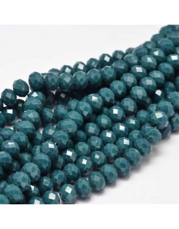 Glass Beads Strands, Faceted Abacus , MarineBlue, 8x6mm, Hole: 1mm; about 72pcs/strand, 17""