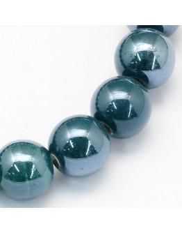 Keramikos karoliukai, apvalūs, spalva: jūros žalia su perlamutru, matmenys: 15mm, skylė: 2mm