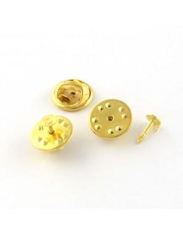 Aukso spalvos geležinis sagės ruošinys, matmenys: pagrindas- 4.5mm; ilgis-12mm; smeigtukas: 1mm, 4 vnt./pak.