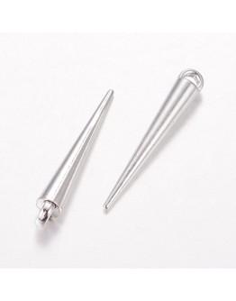 Sidabro spalvos, spyglio formos pakabukas, be švino, matmenys: 35x5x5mm, kilpelė: 2mm, 5vnt./pak.