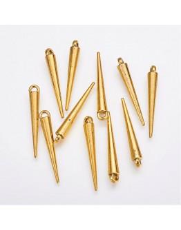 Aukso spalvos, spyglio formos pakabukas be švino, matmenys: 34x5x5mm, kilpelė: 2mm, 5 vnt.pak.