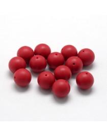 Maistinio silikono karoliukai, apvalūs, raudoni, matmenys: 14~15mm, skylė: 2mm, 1 vnt.