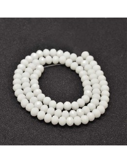 Faceted Abacus Glass Beads Strands, White, 6x4mm, Hole: 1mm; about 99pcs/strand, 17.7""