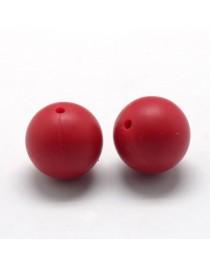 Maistinio silikono karoliukai, apvalūs, raudoni, matmenys: 12mm, skylė: 2mm, 1vnt.