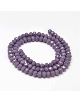 Faceted Abacus Glass Beads Strands, MediumPurple, 6x4mm, Hole: 1mm; about 99pcs/strand, 17.7""