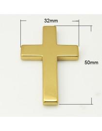 Aukso spalvos, sintetinio hematito kryžius, pakabukas, matmenys: