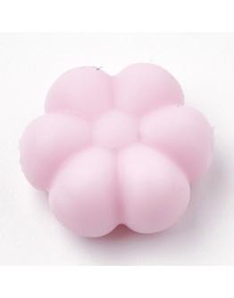 Maistinio silikono karoliukai, gėlės formos, rausvi, matmenys: 14x13x6mm, skylė: 2mm