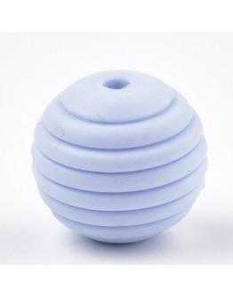 Maistinio silikono karoliukai, apvalūs, melsvi, matmenys: 15x14mm