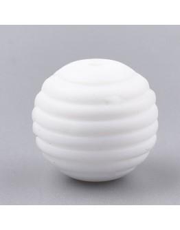 Maistinio silikono karoliukai, apvalūs, balti, matmenys: 15x14mm