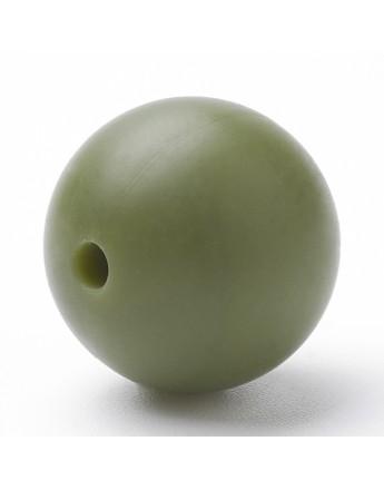 Maistinio silikono karoliukai, apvalūs, alyvuogių spalvos, matmenys: 14~15mm, skylė: 2mm