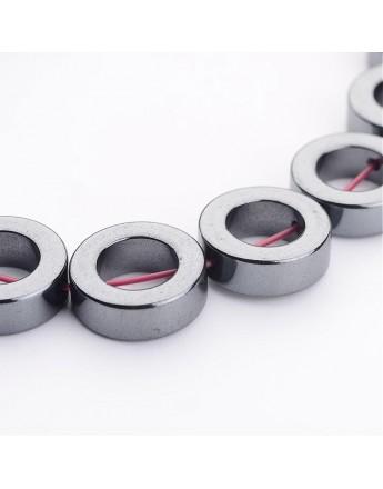 Sintetinio hematito karoliukai, A klasės, spurgos formos, tamsaus metalo spalvos, matmenys: 12x4mm, skylė: 1mm; apie 33vnt. gijo