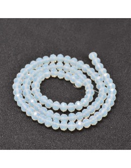 Faceted Abacus Glass Beads Strands, Clear, 6x4mm, Hole: 1mm; about 99pcs/strand, 17.7""