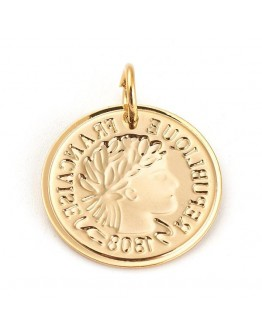 Aukso spalvos, nerūdijančio plieno pakabukas, prancūziška moneta, matmenys: 20x1mm, skylė: 5mm
