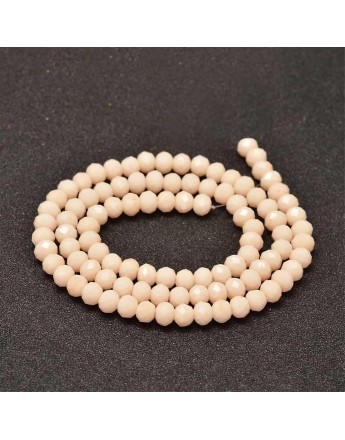 Faceted Abacus Glass Beads Strands, PeachPuff, 6x4mm, Hole: 1mm; about 99pcs/strand, 17.7""