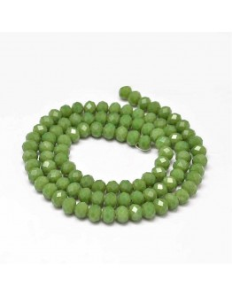 Faceted Abacus Glass Beads Strands, OliveDrab, 6x4mm, Hole: 1mm; about 99pcs/strand, 17.7""