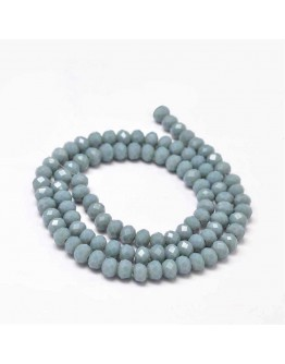 Faceted Abacus Glass Beads Strands, CadetBlue, 6x4mm, Hole: 1mm; about 99pcs/strand, 17.7""