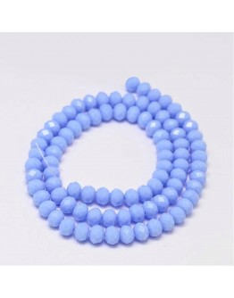 Faceted Abacus Glass Beads Strands, LightSteelBlue, 6x4mm, Hole: 1mm; about 99pcs/strand, 17.7""