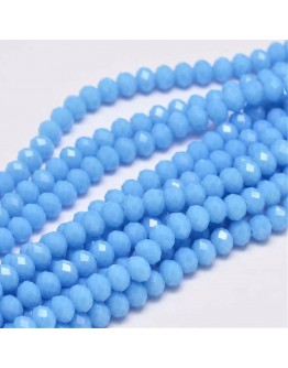 Faceted Abacus Glass Beads Strands, LightBlue, 6x4mm, Hole: 1mm; about 99pcs/strand, 17.7""