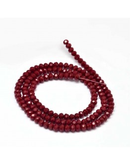 Faceted Abacus Glass Beads Strands, DarkRed, 4x3mm, Hole: 1mm; about 149pcs/strand, 18.9""