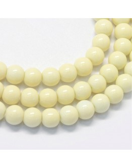 Baking Painted Glass Round Bead Strands, LemonChiffon, 8.5~9mm, Hole: 1.5mm; about 105pcs/strand, 31.8""