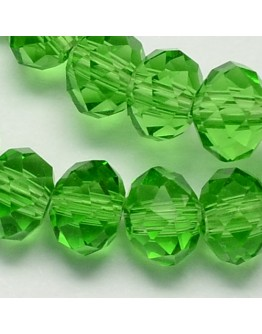 Handmade Glass Beads, Imitate Austrian Crystal, Faceted Abacus, Green, 6x4mm, Hole: 1mm; about 100pcs/strand