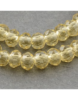 """Transparent Glass Beads Strands, Faceted, Abacus, Wheat, 3x2mm; Hole: 0.5mm, about 200pcs/strand, 16.7"""""""