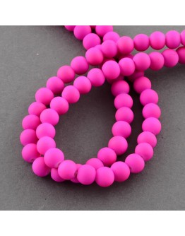 Painted Glass Bead Strands, Rubberized Style, Round, DeepPink, 8mm; Hole: 1.3~1.6mm; about 100pcs/strand, 31.4""