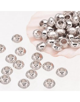 Rondelle Tibetan Silver Spacer Beads, Lead Free & Nickel Free & Cadmium Free, Platinum Color, about 5.5mm thick, Hole: 2.3mm