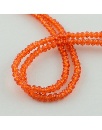 Transparent Glass Beads Strands, Faceted, Abacus, OrangeRed, 3x2mm; Hole: 0.5mm, about 200pcs/strand, 16.7""