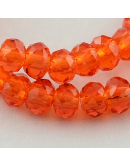 """Transparent Glass Beads Strands, Faceted, Abacus, OrangeRed, 3x2mm; Hole: 0.5mm, about 200pcs/strand, 16.7"""""""