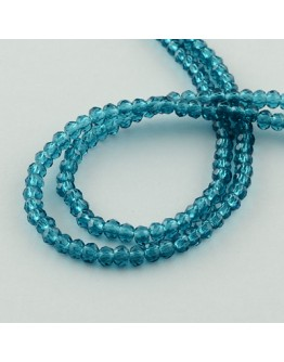 """Transparent Glass Beads Strands, Faceted, Abacus, DarkCyan, 3x2mm; Hole: 0.5mm, about 200pcs/strand, 16.7"""""""