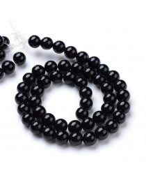 """Natural Black Agate Round Bead Strands, 8~8.5mm, Hole: 1mm; about 47pcs/strand, 15.5"""""""