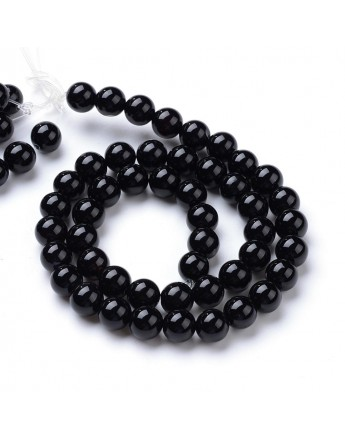 Natural Black Agate Round Bead Strands, 8~8.5mm, Hole: 1mm; about 47pcs/strand, 15.5""