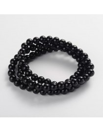 """Painted Glass Bead Strands, Baking Paint, Round, Black, 10mm; Hole: 1.3~1.6mm, about 80pcs/strand, 31.4"""""""