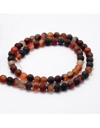 Frosted Natural Agate Beads Strands, Round, Dyed & Heated, Coffee, 8mm, Hole: 1mm; about 48pcs/strand, 15.2""