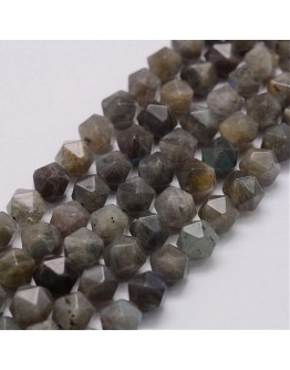 """Natural Labradorite Beads Strands, Faceted, Round, 8x7~7.5x7~7.5mm, Hole: 0.5mm; about 50pcs/strand, 15.3""""(39cm)"""
