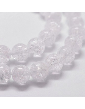 "Natural Crackel Quartz Beads Strands, Round, 8mm, Hole: 1mm; about 51pcs/strand, 14.9""~15.1"""