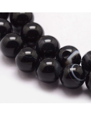 """Natural Striped Agate Bead Strands, Round, Dyed & Heated, Black, 8mm, Hole: 1mm; about 47pcs/strand, 15"""""""