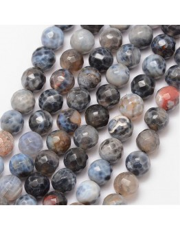 Natural Fire Agate Bead Strands, Round, Faceted, Dyed & Heated, Black, 8mm, Hole: 1mm; about 47pcs/strand, 15""
