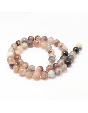Natural Striped Agate Bead Strands, Round, Dyed & Heated, Tan, 8mm, Hole: 1mm; about 47~48pcs/strand, 14.5""