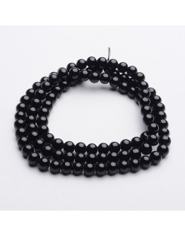 Painted Glass Beads Strands, Round, Black, 8mm, Hole: 1mm; about 104pcs/strand