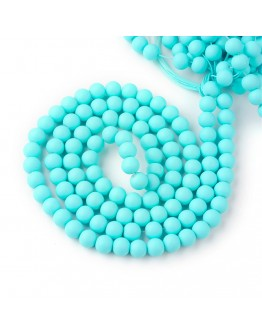 Painted Glass Bead Strands, Rubberized Style, Round, LightSkyBlue, 8mm; Hole: 1.3~1.6mm; about 100pcs/strand, 31.4""