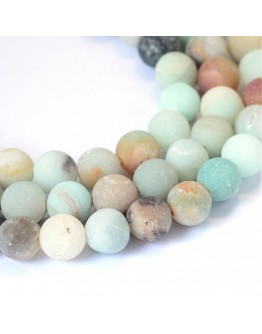 Frosted Natural Amazonite Round Bead Strands, 8~8.5mm, Hole: 1mm; about 47pcs/strand, 15.5""