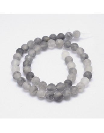 Frosted Natural Cloudy Quartz Round Beads Strands, 8mm, Hole: 1mm; about 48pcs/strand, 15.5""