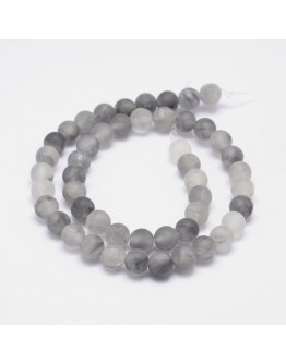"""Frosted Natural Cloudy Quartz Round Beads Strands, 8mm, Hole: 1mm; about 48pcs/strand, 15.5"""""""