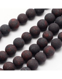 """Natural Brecciated Jasper Beads Strands, Frosted, Round, 8mm, Hole: 1mm; about 48pcs/strand, 15.1"""""""