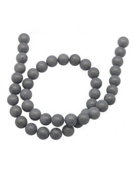 Natural Mashan Jade Beads Strands, Dyed, Round, Gray, 8mm, Hole: 1.2mm; about 51pcs/strand, 16""